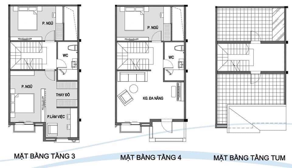 mặt bằng thiết kế tầng 3,4,5 nhà phố vinhomes grand park