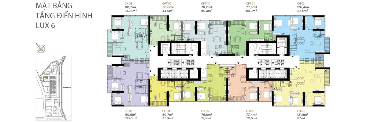 Mặt bằng điển hình tầng 2 - 22 phân khu LUX 6