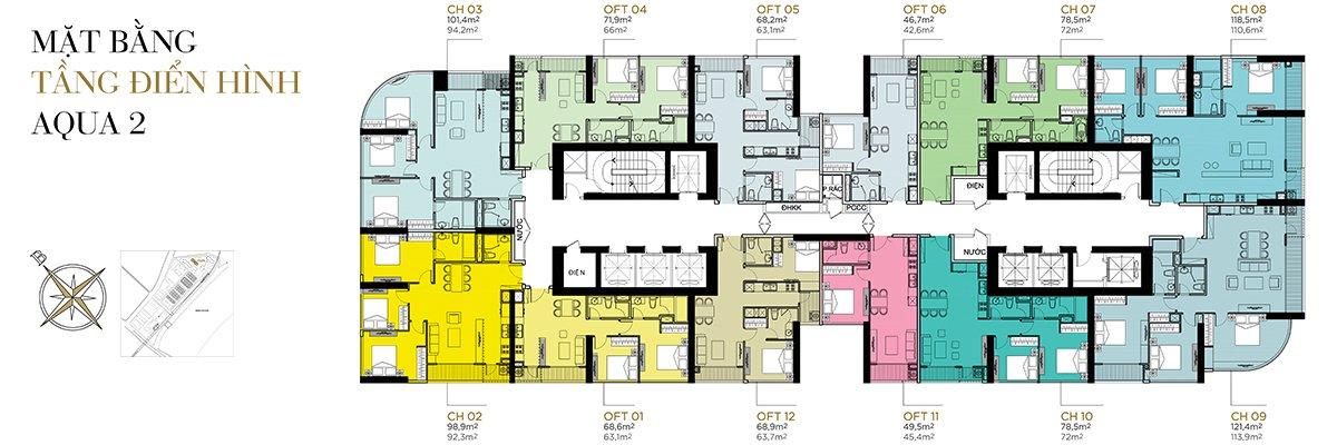 Mặt bằng điển hình tầng 2 - 22 phân khu Aqua 2