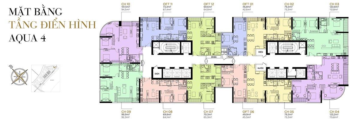 Mặt bằng điển hình tầng 2 - 22 phân khu Aqua 4