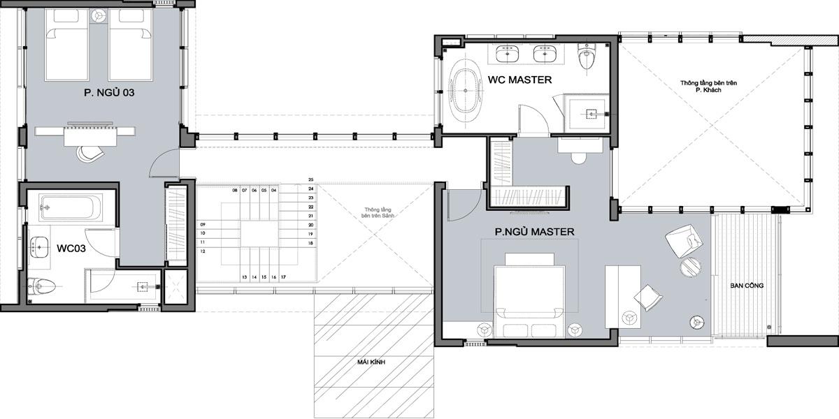Mặt bằng căn 2 tầng 3 Phòng ngủ - Tầng 2