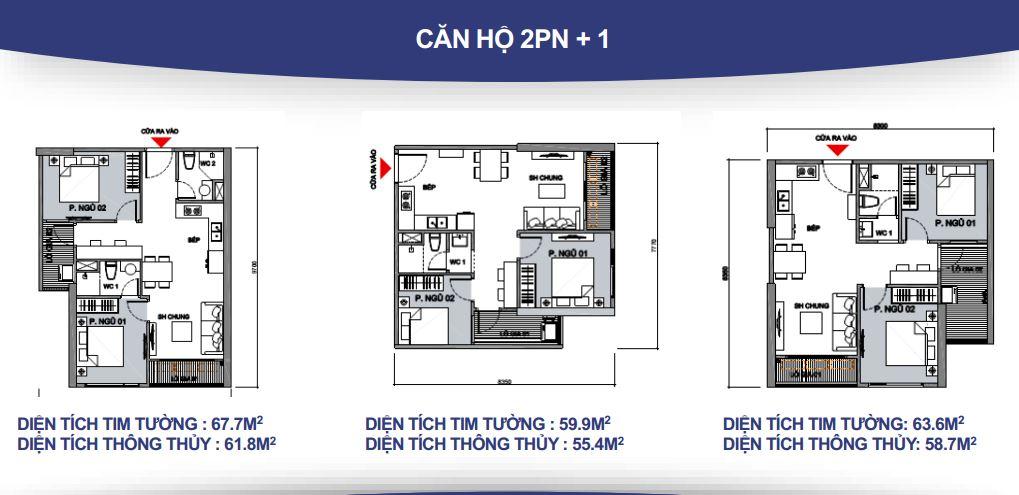Mặt bằng căn hộ 2PN + 1 - 1WC