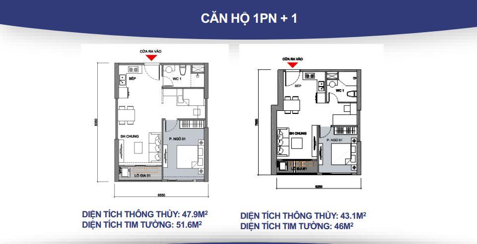 Mặt bằng căn hộ 1PN +1