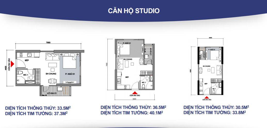 mặt bằng căn hộ studio 1 phòng