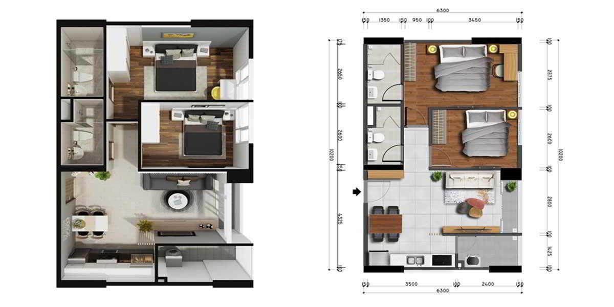 Mặt bằng thiết kế căn hộ 2PN - 3WC