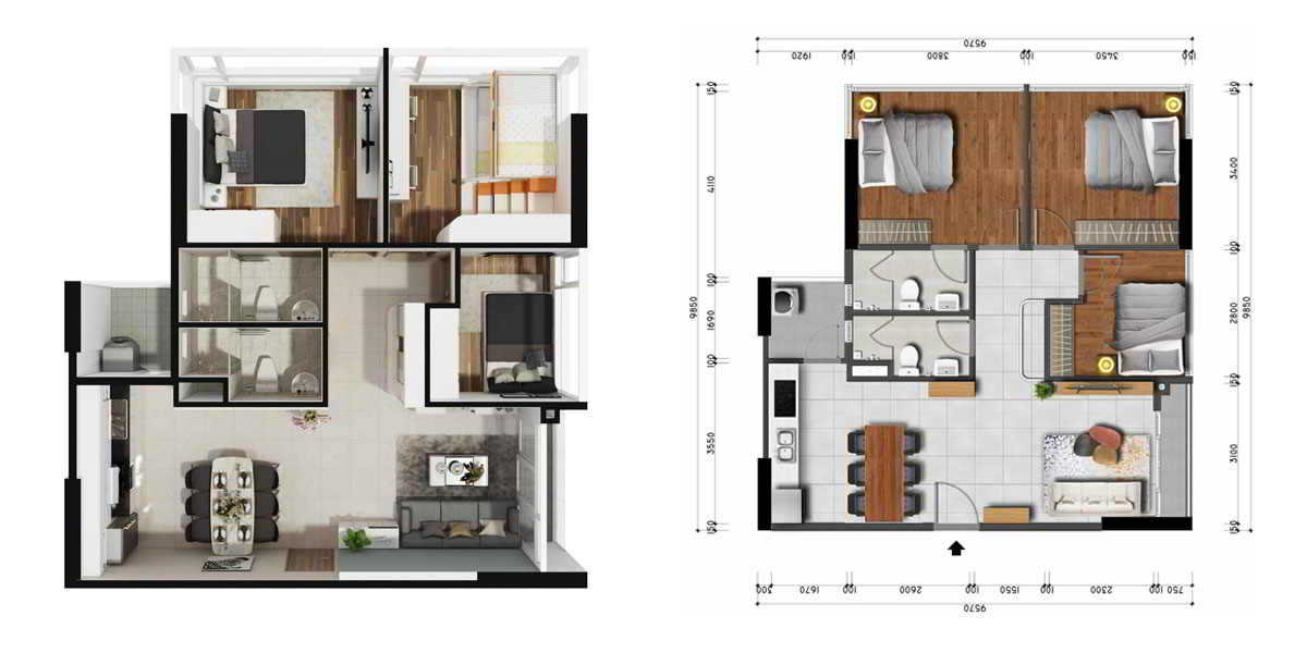 Mặt bằng thiết kế căn hộ premier 3pn