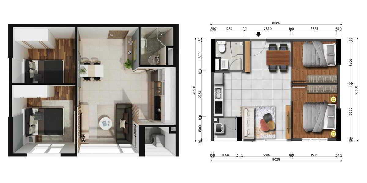 Mặt bằng thiết kế căn hộ La Premier 2PN - 1WC