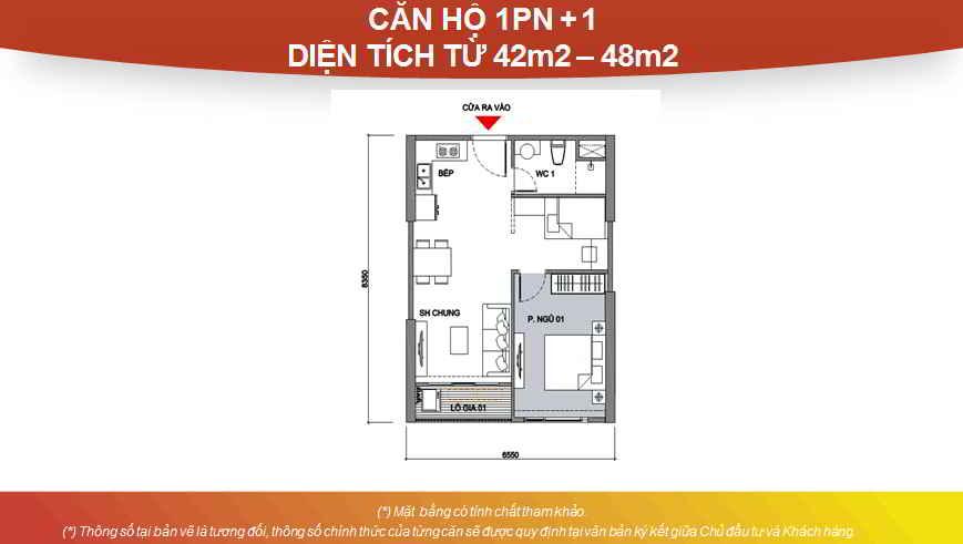 Thiết kế căn hộ Studio 1 phòng ngủ + 1