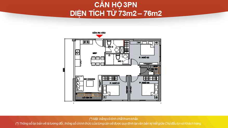 Thiết kế căn hộ Studio 3 phòng ngủ