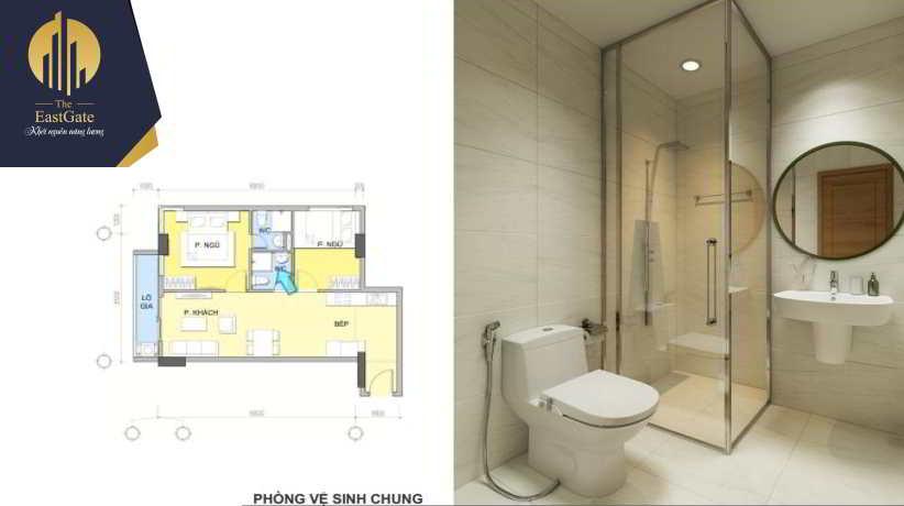 Căn hộ mẫu 2 phòng ngủ - WC