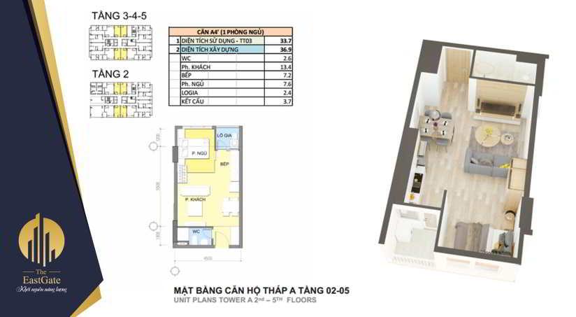 Mặt bằng thiết kế căn hộ the east gate tầng 2 -5
