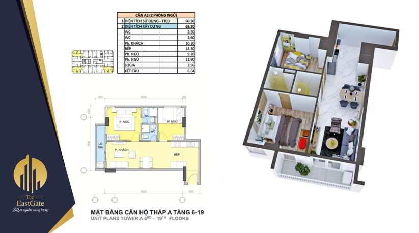 Mặt bằng thiết kế căn hộ the east gate Tháp A tầng 6 -19