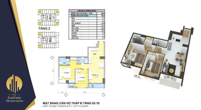 Mặt bằng thiết kế căn hộ The EastGate tháp B, Tầng 2 - 19 -2pn