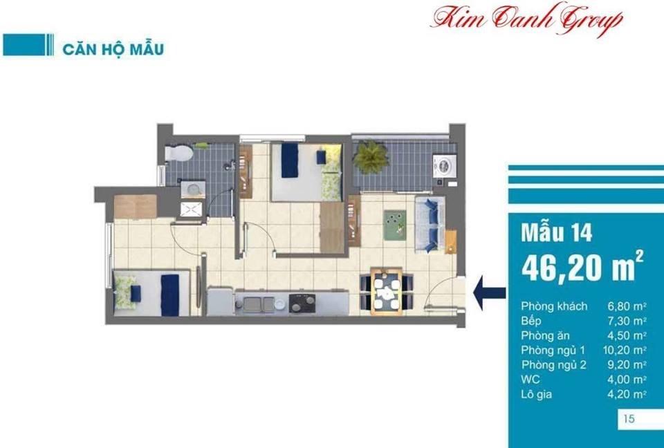 Mặt bằng căn hộ EastGate 46m2
