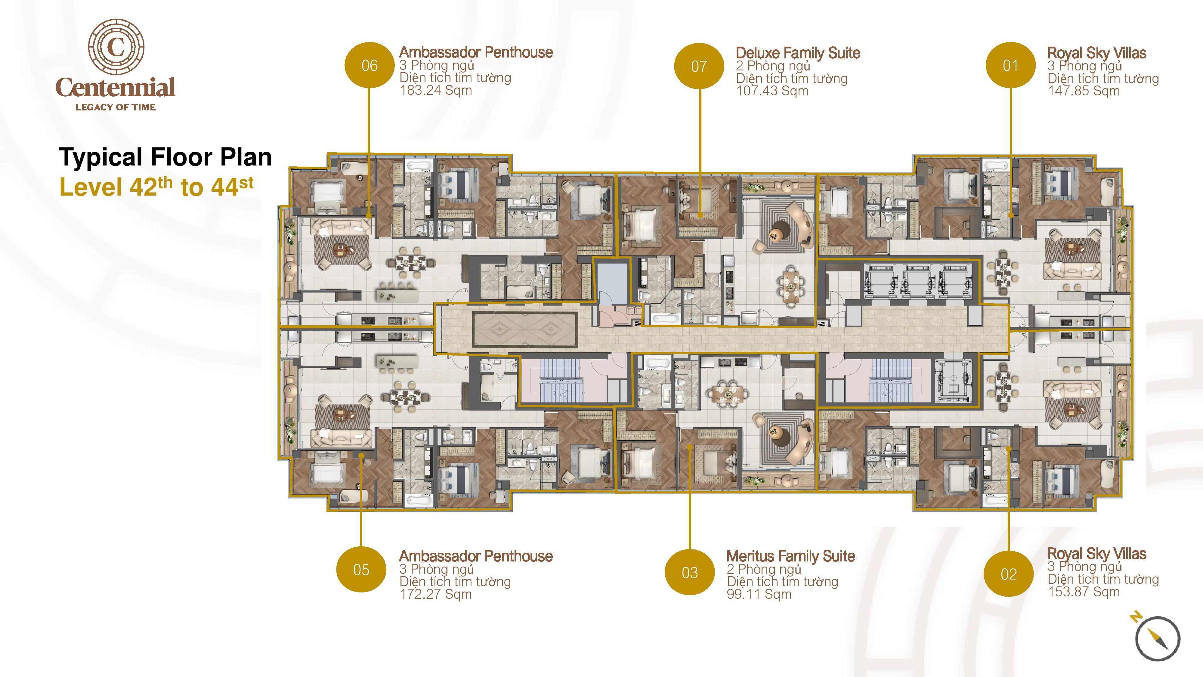 Mặt bằng tầng căn hộ điển hình 42-44