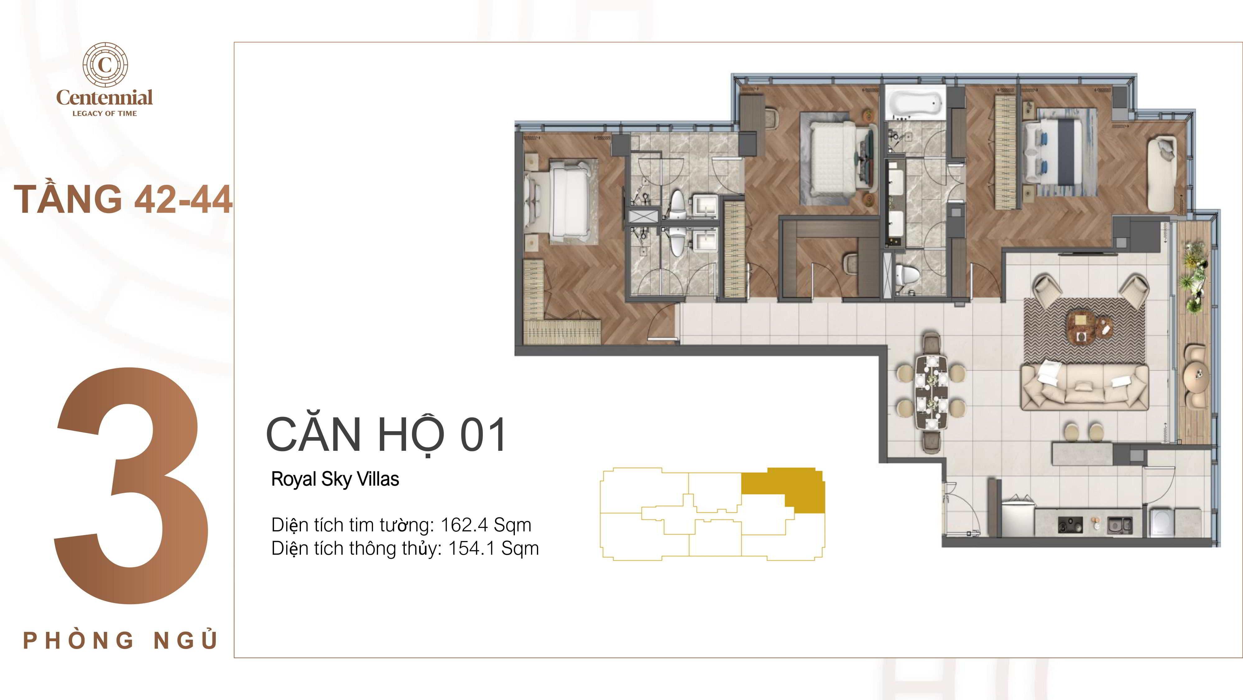 Mặt bằng thiết kế căn hộ centennial 3 phòng ngủ