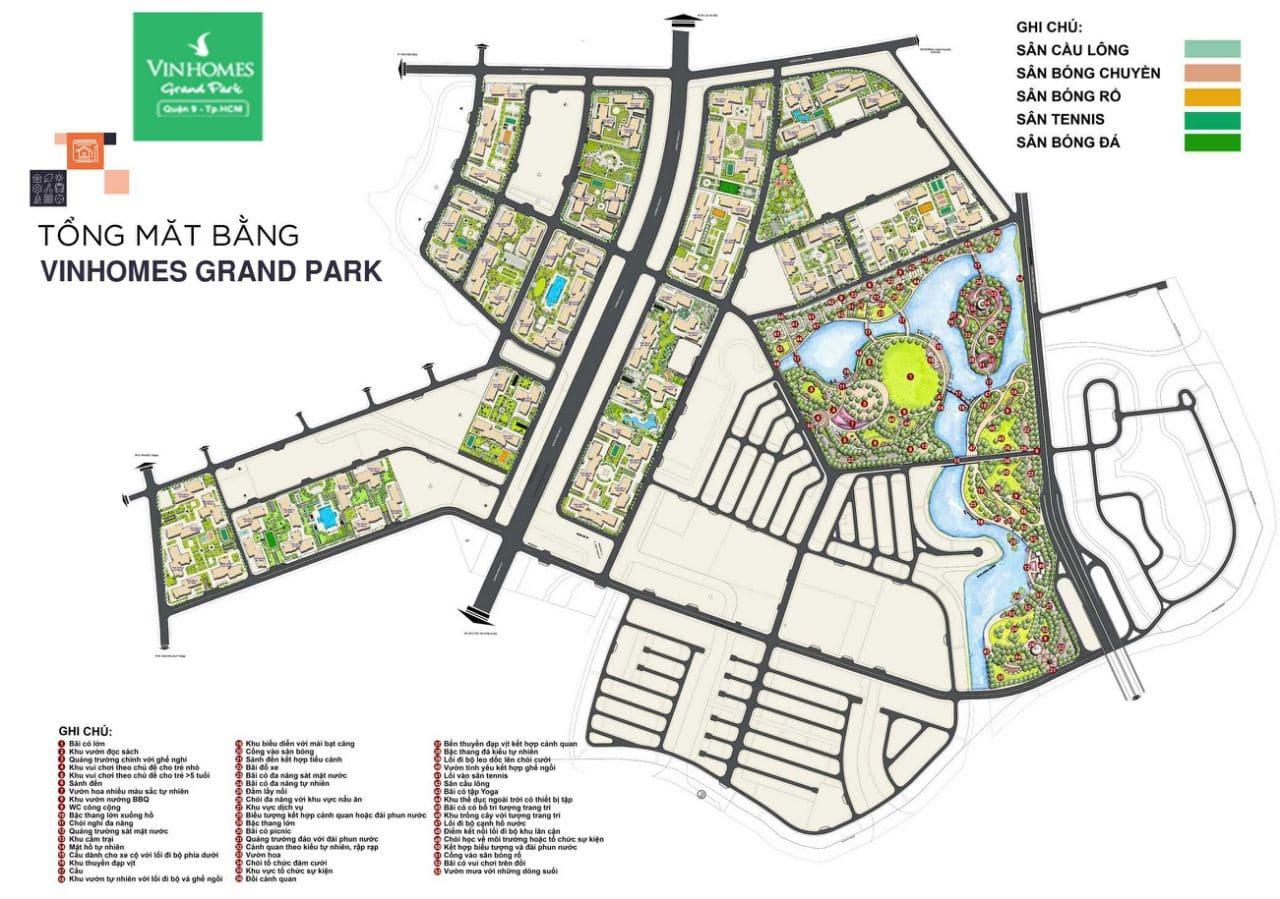mặt bằng tổng thể vinhomes grand park quận 9