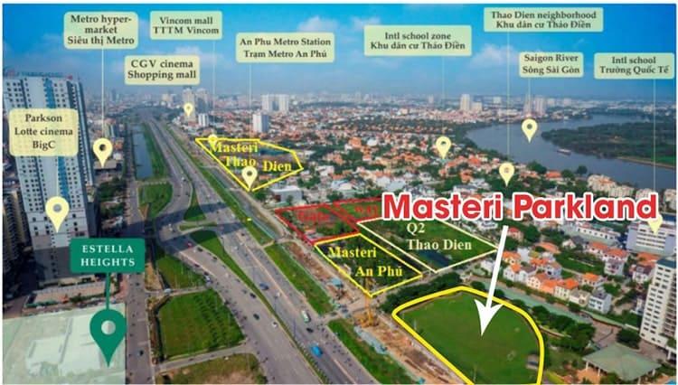 Vị trí dự án Masteri Parkland Quận 2