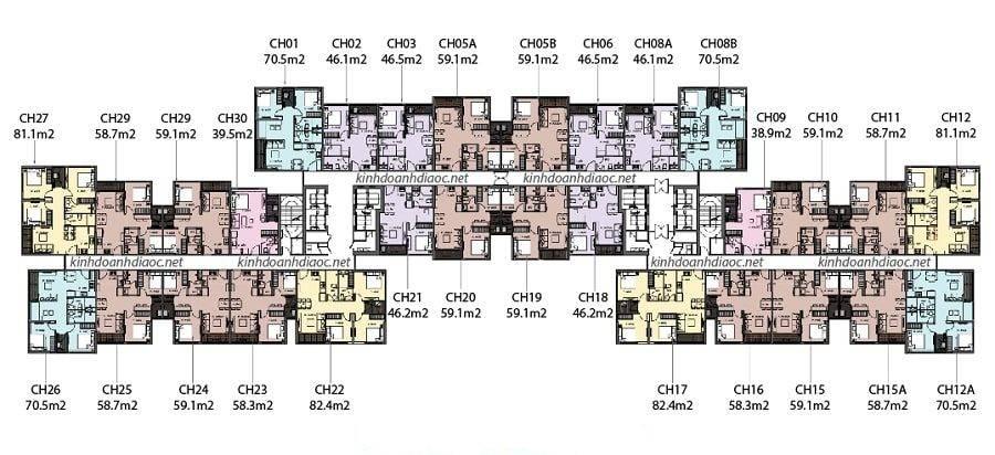 layout thiết kế tầng căn hộ toà u the rainbow