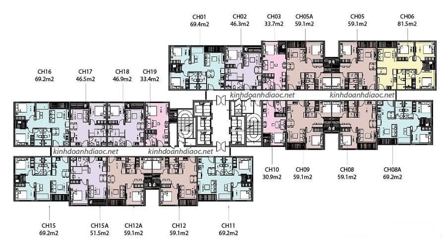 layout thiết kế tầng căn hộ toà z phân khu the rainbow