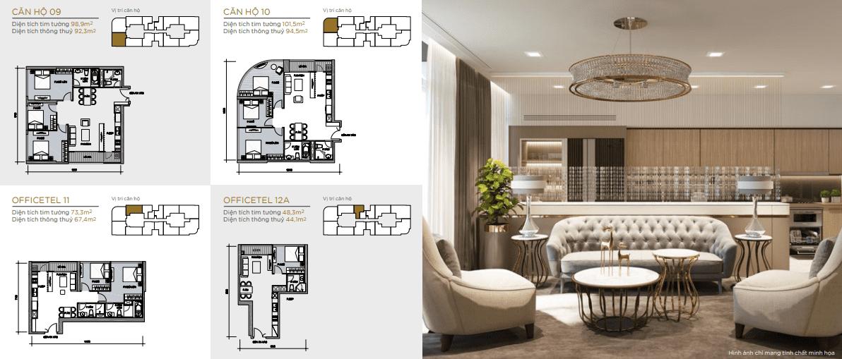 layout thiết kế căn hộ tầng 18 aqua 4
