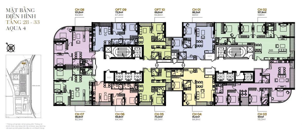 mặt bằng tầng 28-33 aqua 4