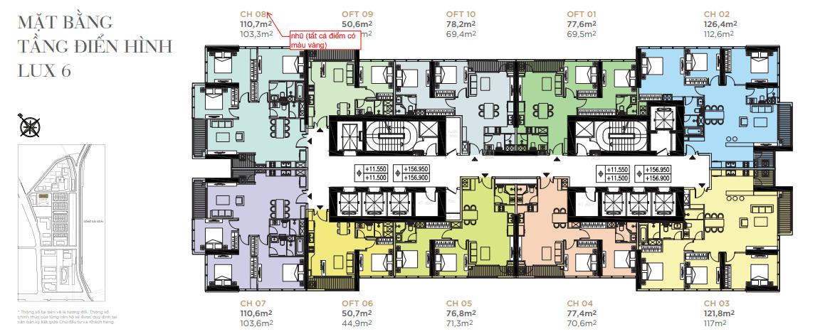 Mặt bằng tầng điển hình - Tòa Lux 6
