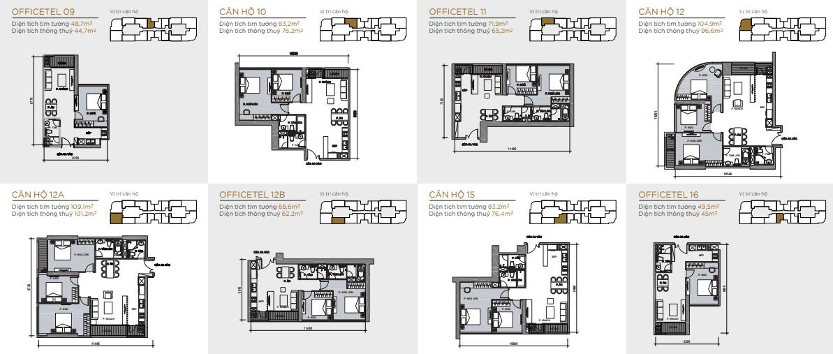 layout thiết kế căn hộ toà aqua 1 vinhomes golden river