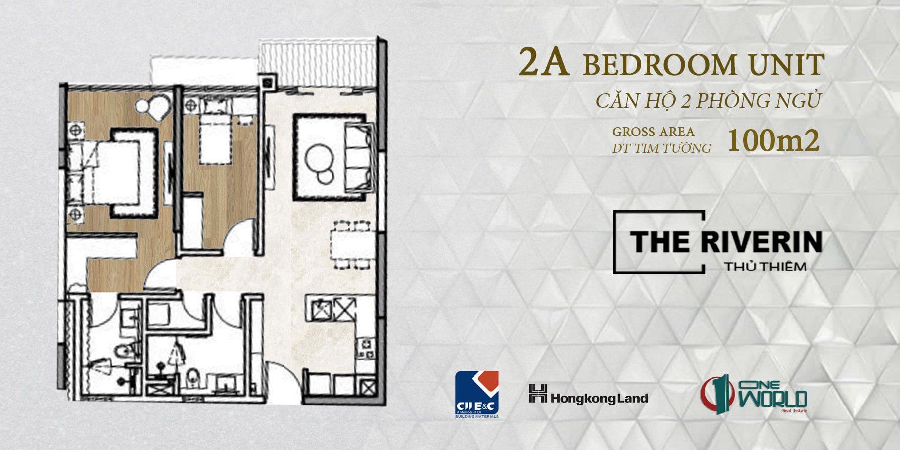 thiết kế căn hộ the riverin 2 phòng ngủ