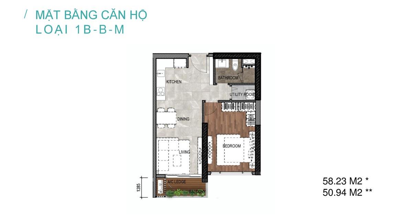 thiết kế căn hộ 1 phòng ngủ celesta rise