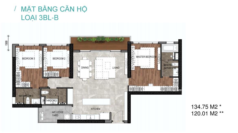 thiết kế căn hộ 3 phòng ngủ celesta rise