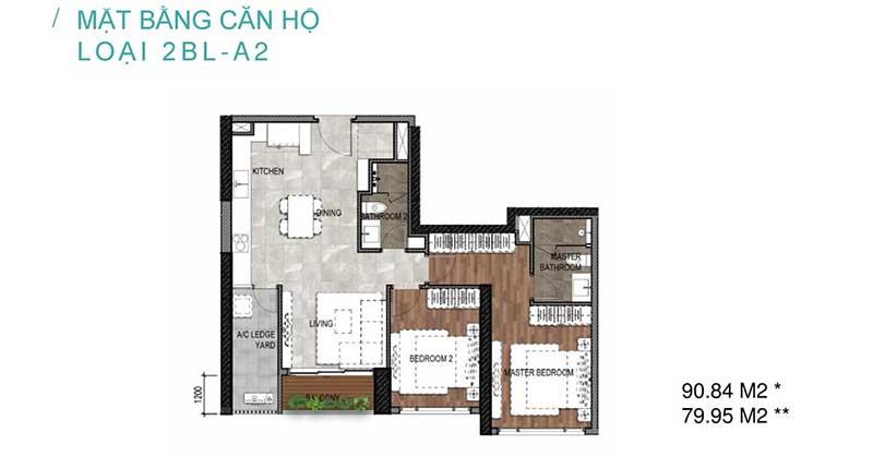 thiết kế căn hộ 2 phòng ngủ celesta rise