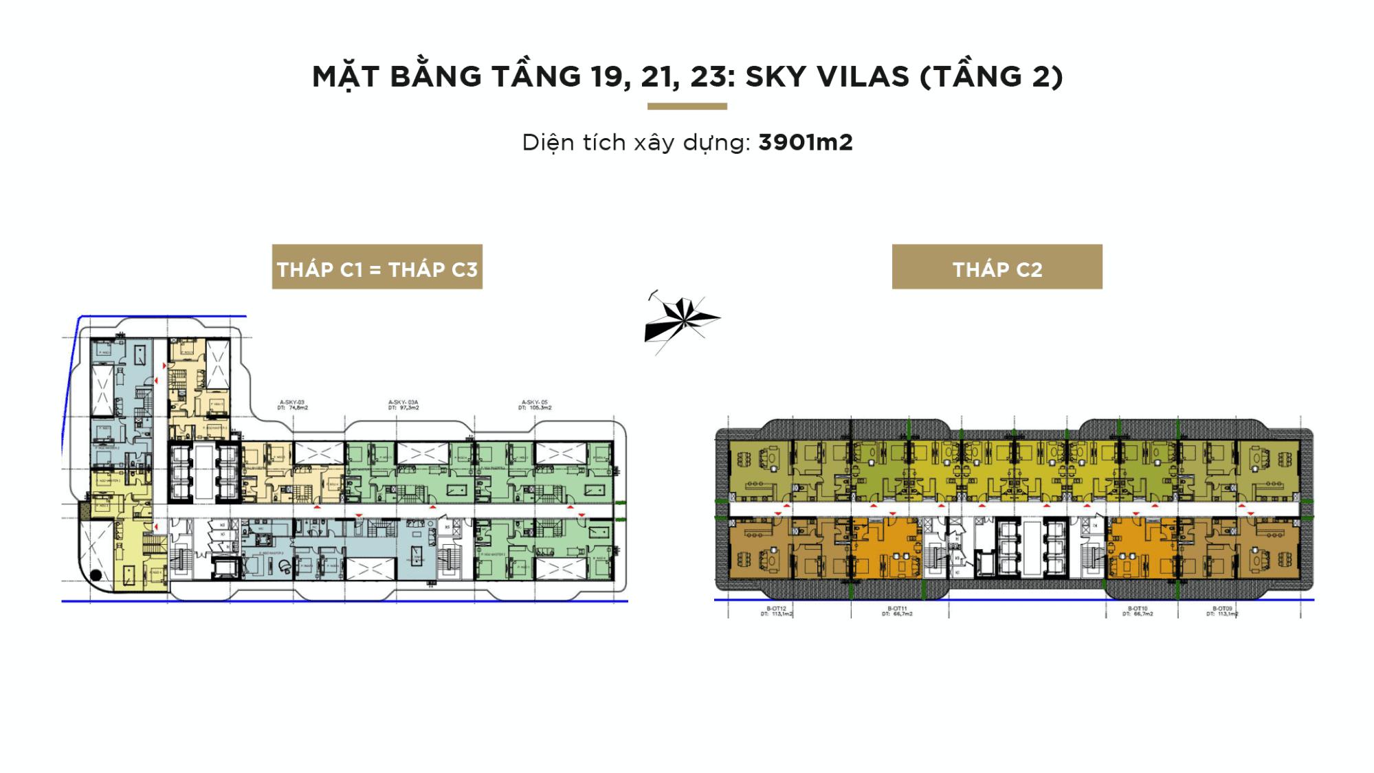 Mặt bằng Sunshine Continental tầng 19,21,23: Sky villas(tầng 2)