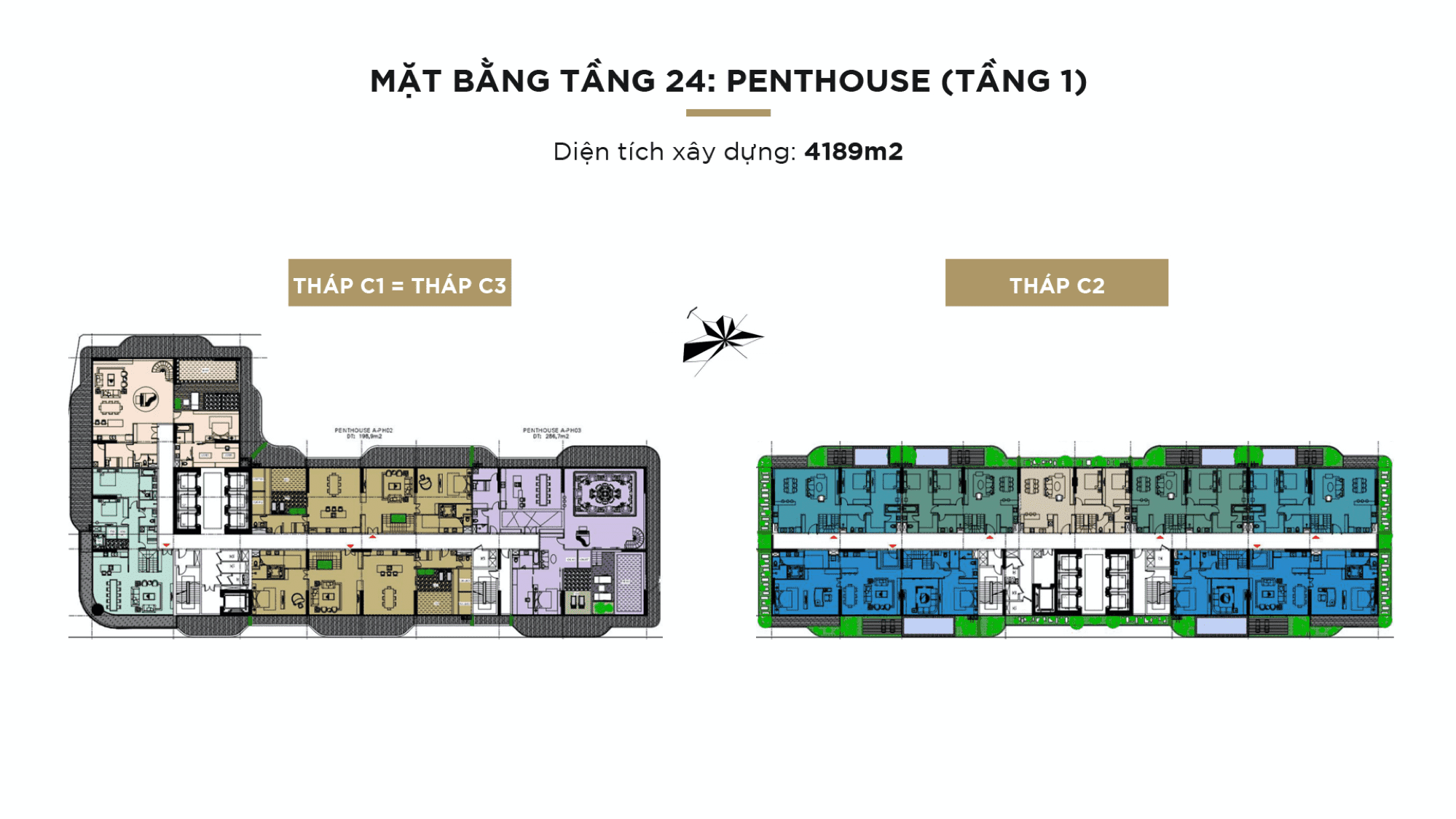 Mặt bằng Sunshine Continental tầng 24: Penthouse (tầng 1)