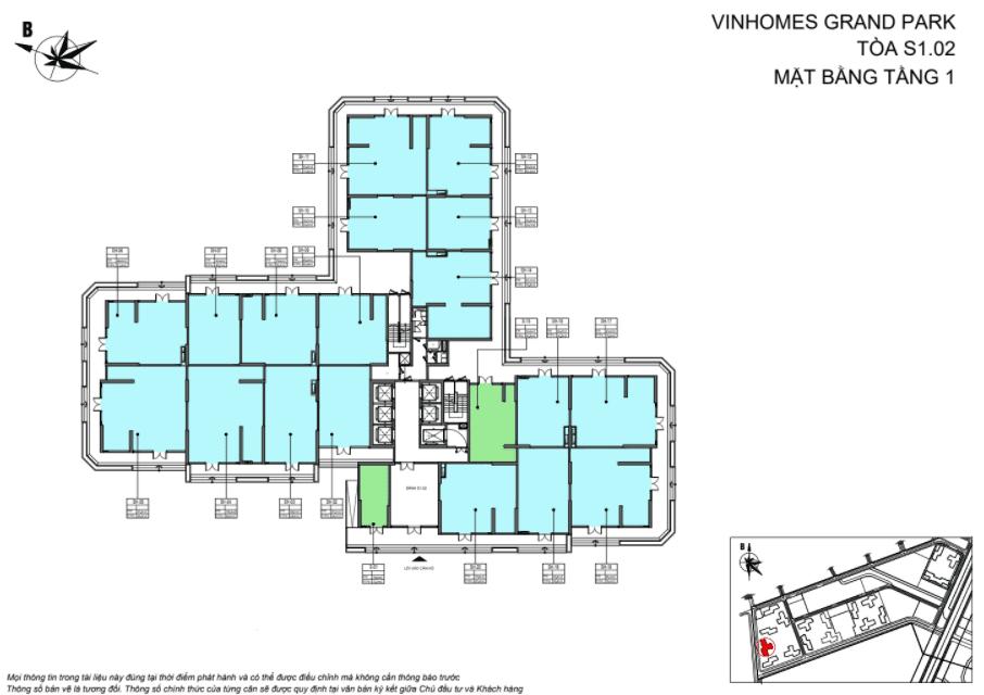 Layout thiết kế Shophouse Vinhomes Grand Park Toà t tầng 1