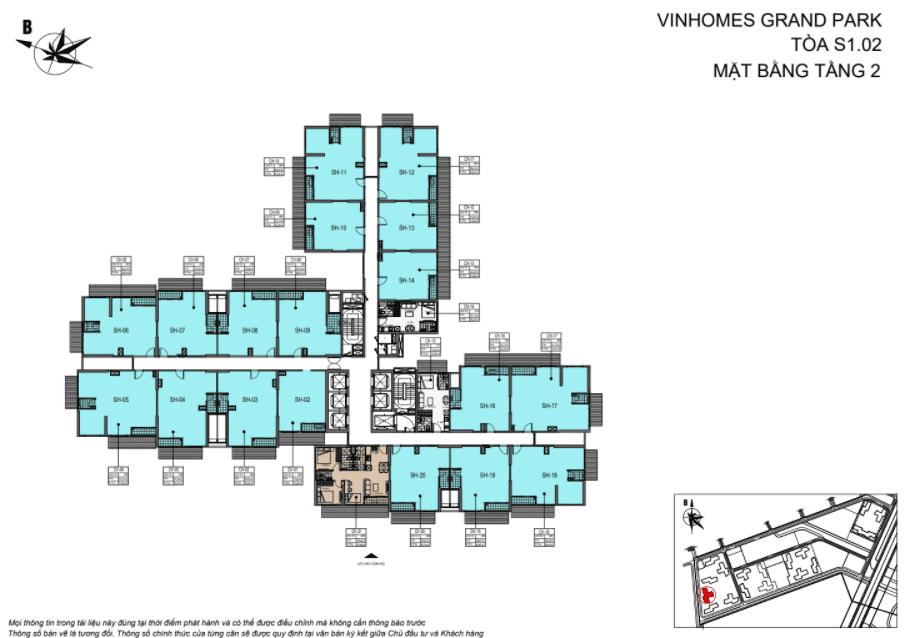 Layout thiết kế Shophouse Vinhomes Grand Park Toà T tầng 2