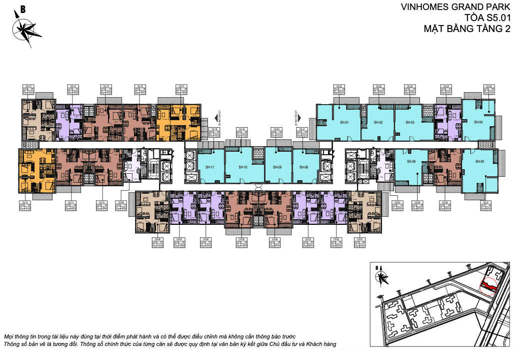 Layout thiết kế Shophouse Vinhomes Grand Park Toà U tầng 2