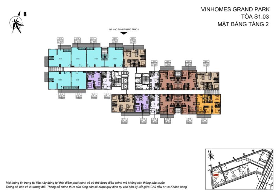 Layout thiết kế Shophouse Vinhomes Grand Park Toà Z tầng 2